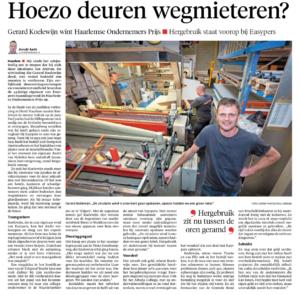 Interview HOP winnaar 2020 Gerard Koelewijn Haarlems Dagblad 01-10-20